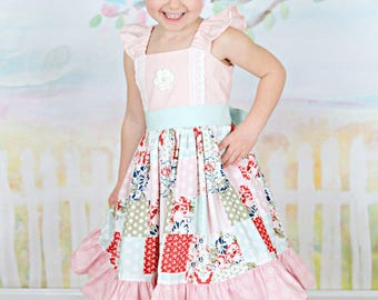 Girls Spring Dress - Mothers Day Dress - Girl Pink Dress - Patchwork Dress - Floral Dress - Floral Easter Dress - Church Dress - Pictures