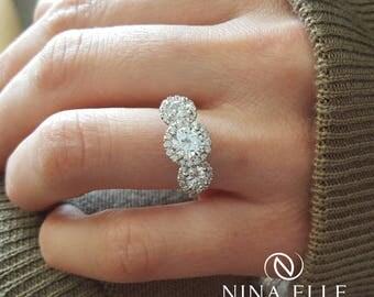 Round Three Stone Halo Diamond Engagement Ring R256
