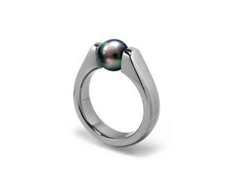 Elegant Black Pearl Ring Tension Set in Steel Stainless