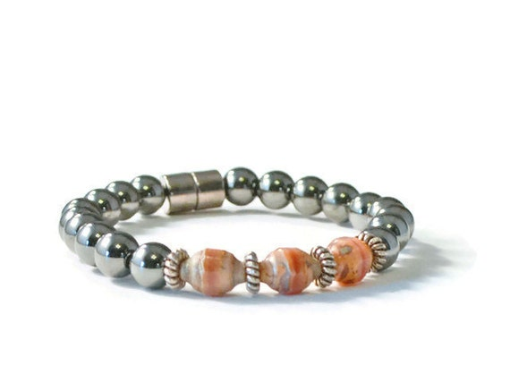 Magnetic hematite therapy bracelet with peach czech glass for How does magnetic jewelry work