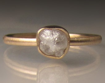 Raw Diamond Engagement Ring, 14k Yellow Gold Rough Diamond Ring, White Rough Diamond Ring