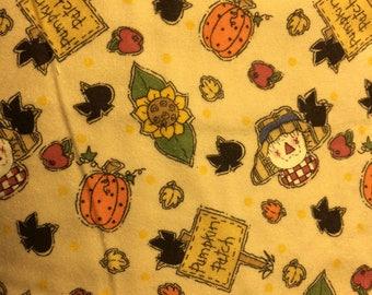 Pumpkin Patch Scarecrows Flannel Print 100% Cotton Flannel Fabric