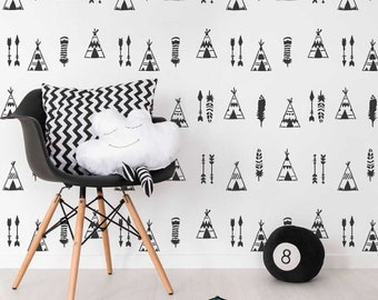 Indian Tipi Allover Stencil - Better than Wallpaper - Perfect for a Nursery - Easy DIY Home Improvement