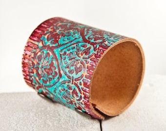 Turquoise Cuff Bracelet Boho Jewelry Gypsy Wide Wrist Bands
