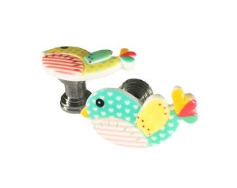 Colorful Little Bird Drawer knobs - Cabinet Knobs  RK01
