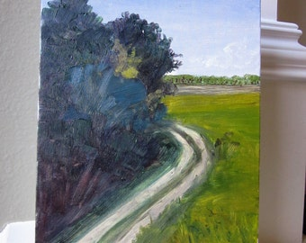 Original Landscape Painting on Canvas Board Winding Road 8 x 12