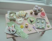 Sale* Dollhouse miniatures Spring baking with bunny cake *Sale