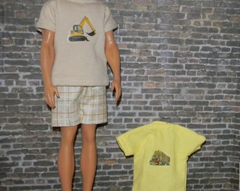 K3PC-25) Ken doll clothes, 2 printed T shirts and 1 shorts