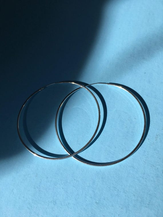 Sterling silver large endless 50mm hoop earrings