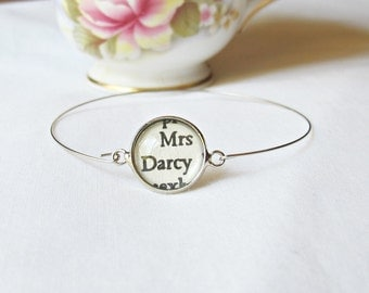 Jane Austen Stacking Bangle Pride and Prejudice Bracelet Mrs Darcy. Vintage Silver Text Name Literature Jewelry Two Cheeky Monkeys Handmade