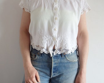 Blouse Vintage Lace Eyelet White Button Up