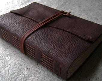 """Handmade leather journal, 384 pages, 6""""x 9"""", rustic dark brown journal, old world journal, (2443)"""