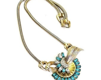 Reinad Aqua and Clear Pendant Necklace