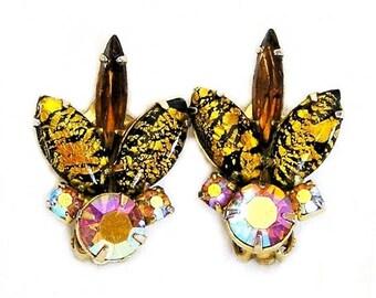 Gold Foil Glass Clip on Earrings