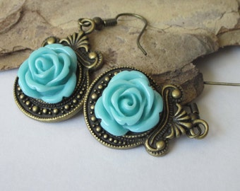 Aqua Rose Earrings, Flower Dangle Earrings, Blue Rose Cabochon, Antiqued Brass, Victorian