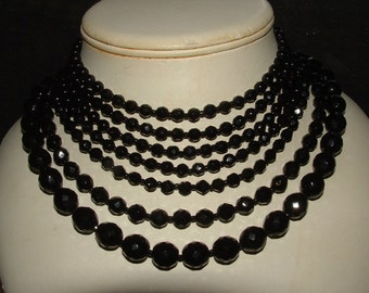 OOAK-- 7 row-black cut crystal necklace-elegant-MIRIAM HASKELL -signed- made well drop dead gorgeous