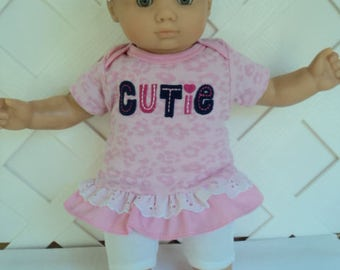 Doll Clothes,  Bitty Baby Girl   4 pc cute Pink and White Pants dress  outfit  with headband and Leggings