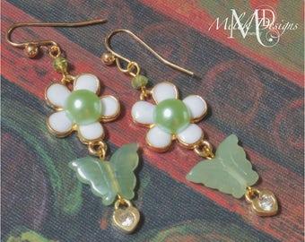 New Jade Butterfly Flower Rhinestone Gold Charm Heart Dangle Earrings