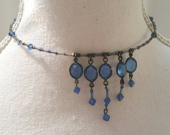 vintage choker, blue beaded choker, blue vintage necklace, blue glass beads, steampunk necklace, victorian choker, edwardian necklace