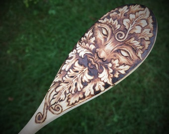GreenMan Spoon in Pyrography - Made to Order