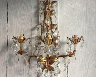 Vintage Crystal Italian Sconce