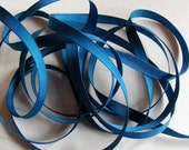 Vintage 1940's-50's French Grosgrain Ribbon 3/8 inch Deep Teal Blue