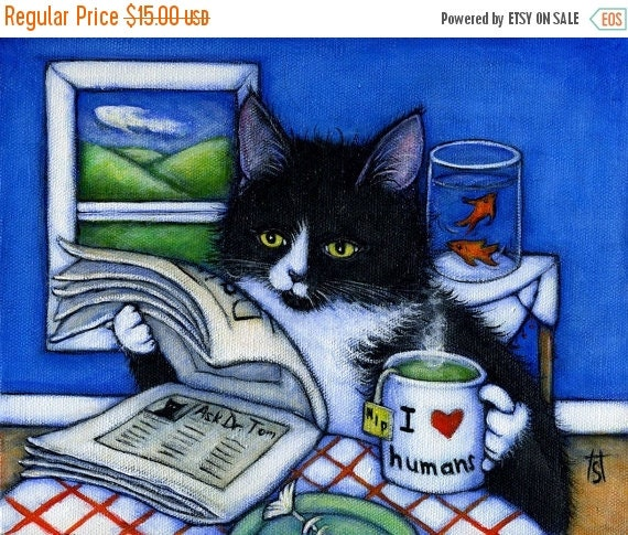 HOLIDAY SALE Tuxedo cat print. Breakfast with Charlie