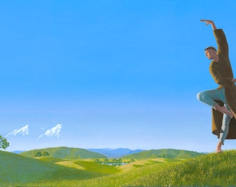 Aquinas In Heaven. Art Print of an original oil painting. A Happy Saint, Dancing.