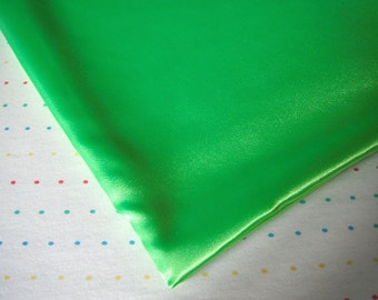 "Neon Green Satin Lining Fabric, 60"" Wide, BTY"