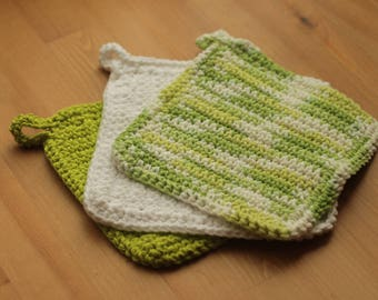 Crucial Cloth in Spring Green, set of 3
