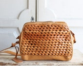 vintage 80s woven leather bag | crossbody purse | Etienne Aignier
