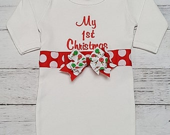 My First Christmas Layette Gown & Add Hat 0-3 or 3-6 months Take Me Home Nightgown Newborn Infant Girls