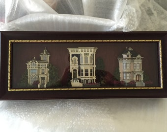 Catherine Karnes Munn SAN FRANCISCO  3D VICTORIAN  House Replicas in Shadow Box ---Rare Wall Hanging Decorative Collectible