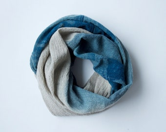 Wool Infinity Scarf - Indigo