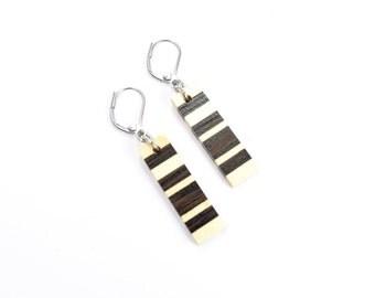 earrings / wood earrings / canadien wood / stainless steel / isabelle ferland