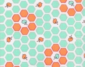 CLEARANCE, Japanese, Lecien FOLK TALE, Cinderberry Stitches, Honeycomb Hexagons in Aqua, 1/2 Yard