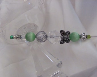 """Silver Beaded Brooch Lapel Hat Hijab Scarf Pin Stick 6"""" Inch Long - Many to Choose From! (#07)"""