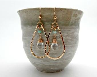 golden warrior goddess. clear quartz and amazonite 14k gold fill hoops. goddess jewelry. yoga gift. energy amplifier. adirondack jewelry.
