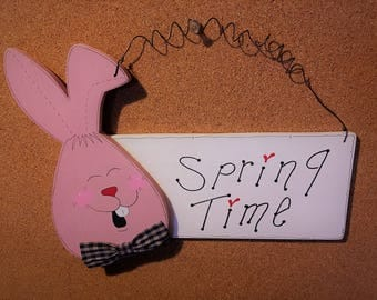 "Easter Bunny  Spring Time wall/door Hanging Sign approximately 11"" x 8 1/2"""