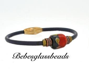 Leather Beaded Bracelet, Bead Bracelet, Leather Bracelet, Red Bead Bracelet, Handmade Jewelry, Woman's Bracelet, Fashion Jewelry, Bracelet