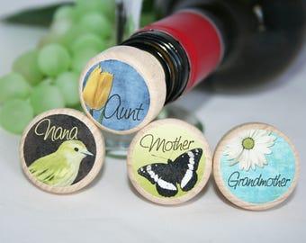 Mother, Aunt, Nana, God Mother Wine Stoppers, Family Gift, Mothers Day Gift, Wine Lover, Wine Stopper, Wedding Gift, Wedding Favor,Aunt Gift