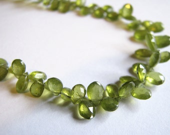 "AAA Vessuvianite, faceted pear briolettes, full strand, 7"", 5-9mm (w7)"