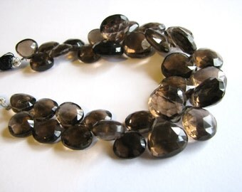 Large AAA Smoky Quartz, large faceted heart briolettes, 8.5-14mm, 7 inch full strand (w100)