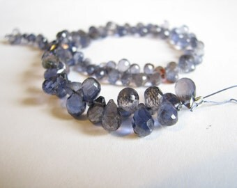 Natural Iolite faceted teardrop briolettes, full 8 inch strand, 5-9mm (w18)