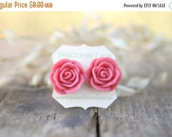 CHRISTMAS SALE Large Dusty Pink Rose Post Earrings // Bridesmaid Gifts // Rustic Vintage Wedding