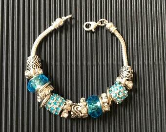 Pandora Style Bracelet Aqua and Silver Beads, Charity Item, MadebyMoms4Moms