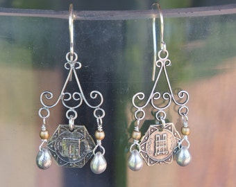 Antique Assemblage Chandelier Earrings with Paris Medals and Silver Beads