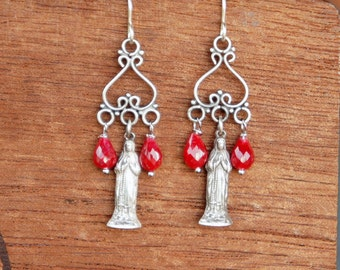 Chandelier Miraculous Mary Statuette and Ruby earrings