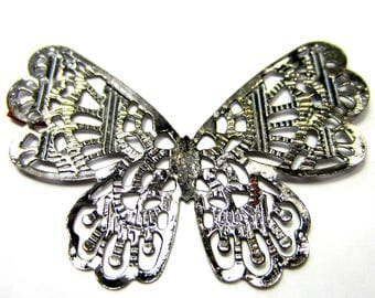 8 Butterfly pendants gunmetal insect jewelry findings stamped filigree iron butterly pendant 43mm 62mm (SR)