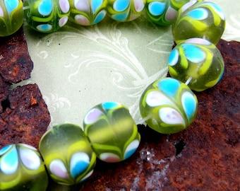 Handmade lampwork beads 18 frosted glass beads green matt finish 10mm x 10mm In(SB1),